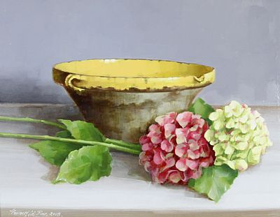 Bowl with Hydrangeas