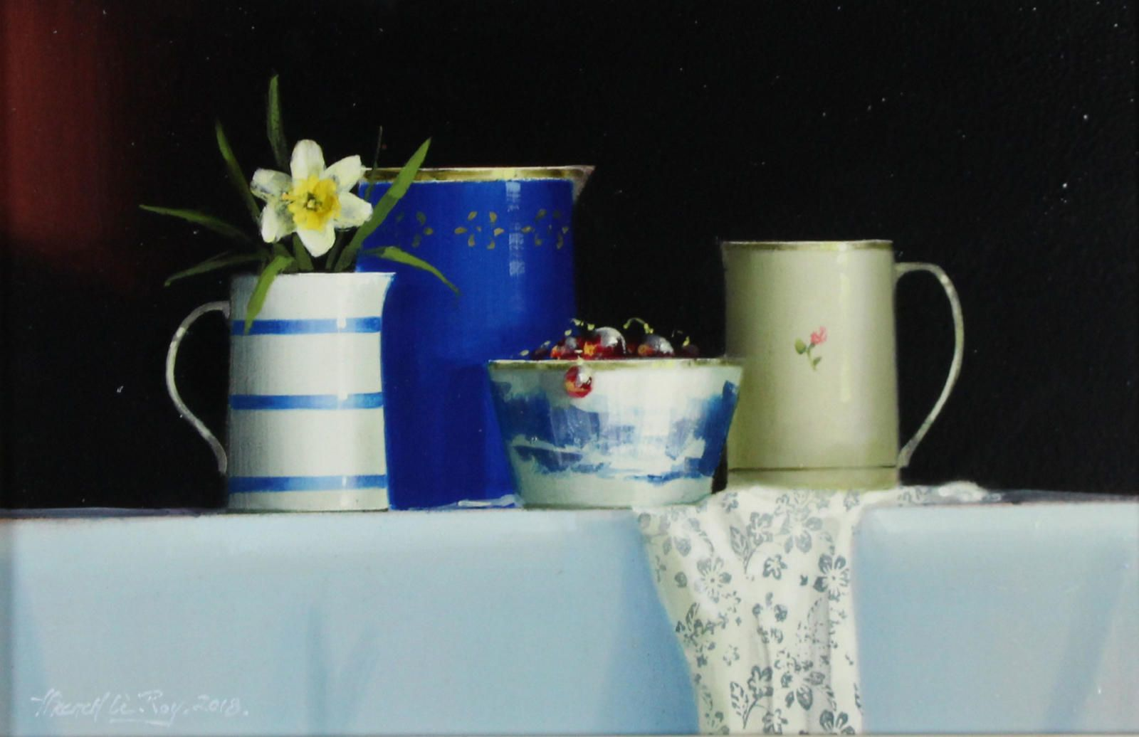 Blue Tableware with Daffodil