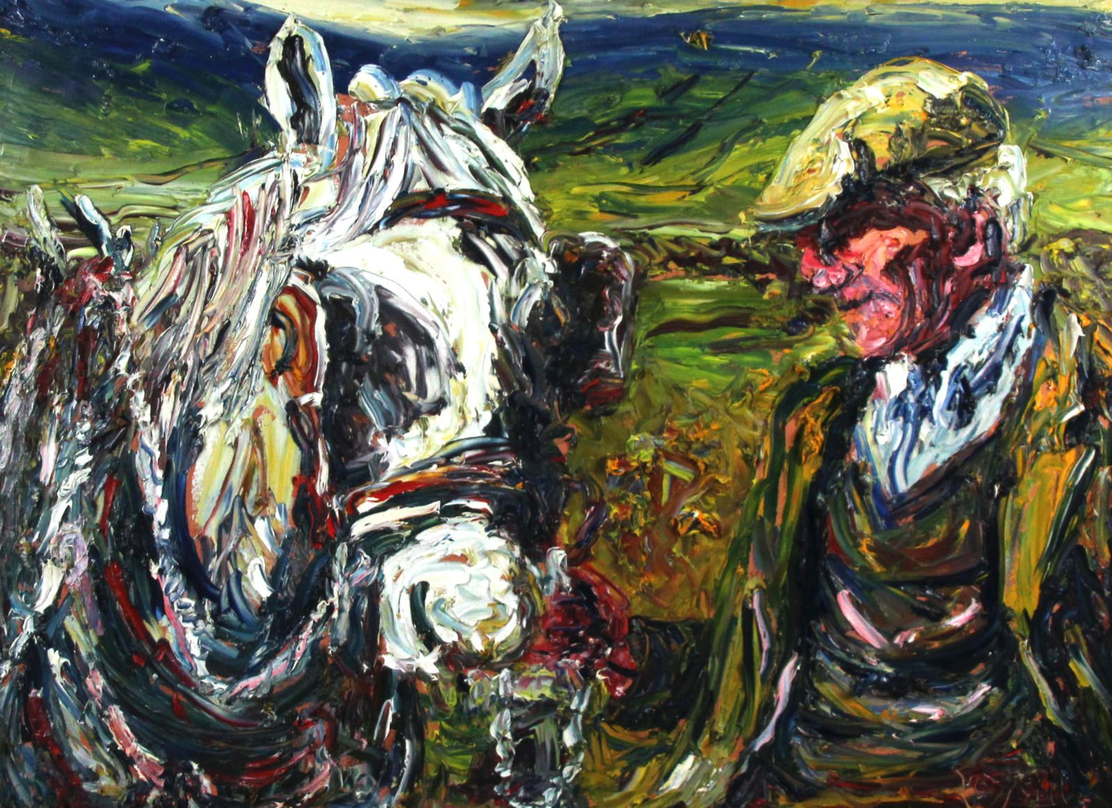 Old Man with White Horse
