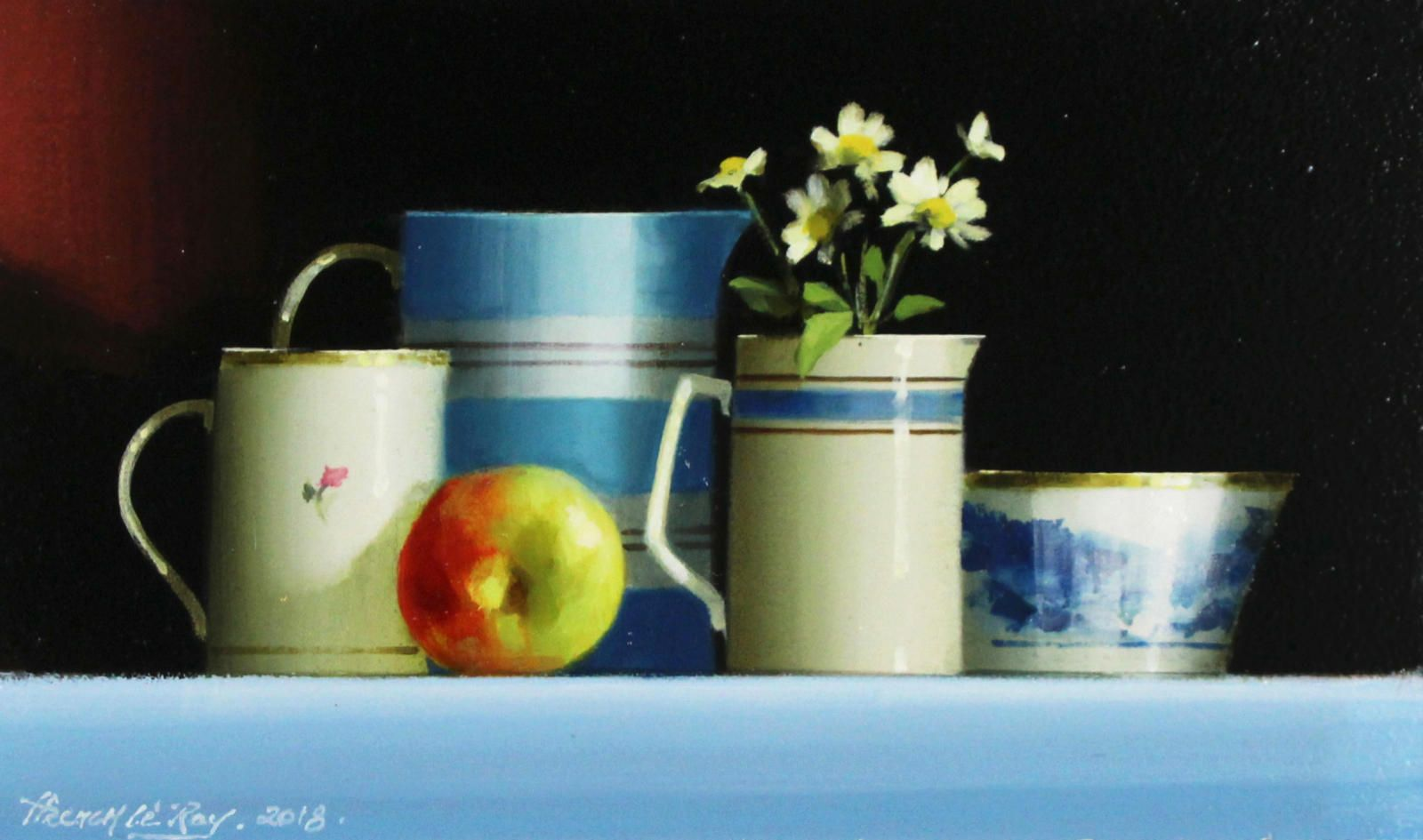 Blue Tableware and Apple