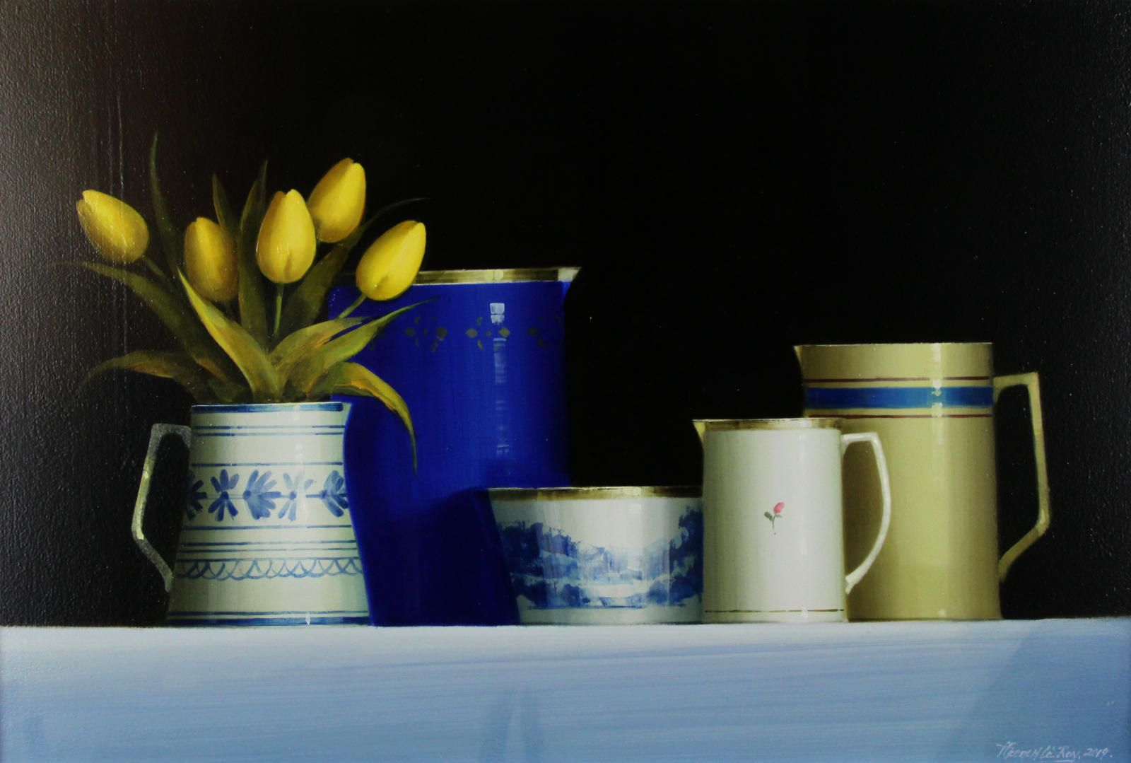 Tulips With Blue Tableware