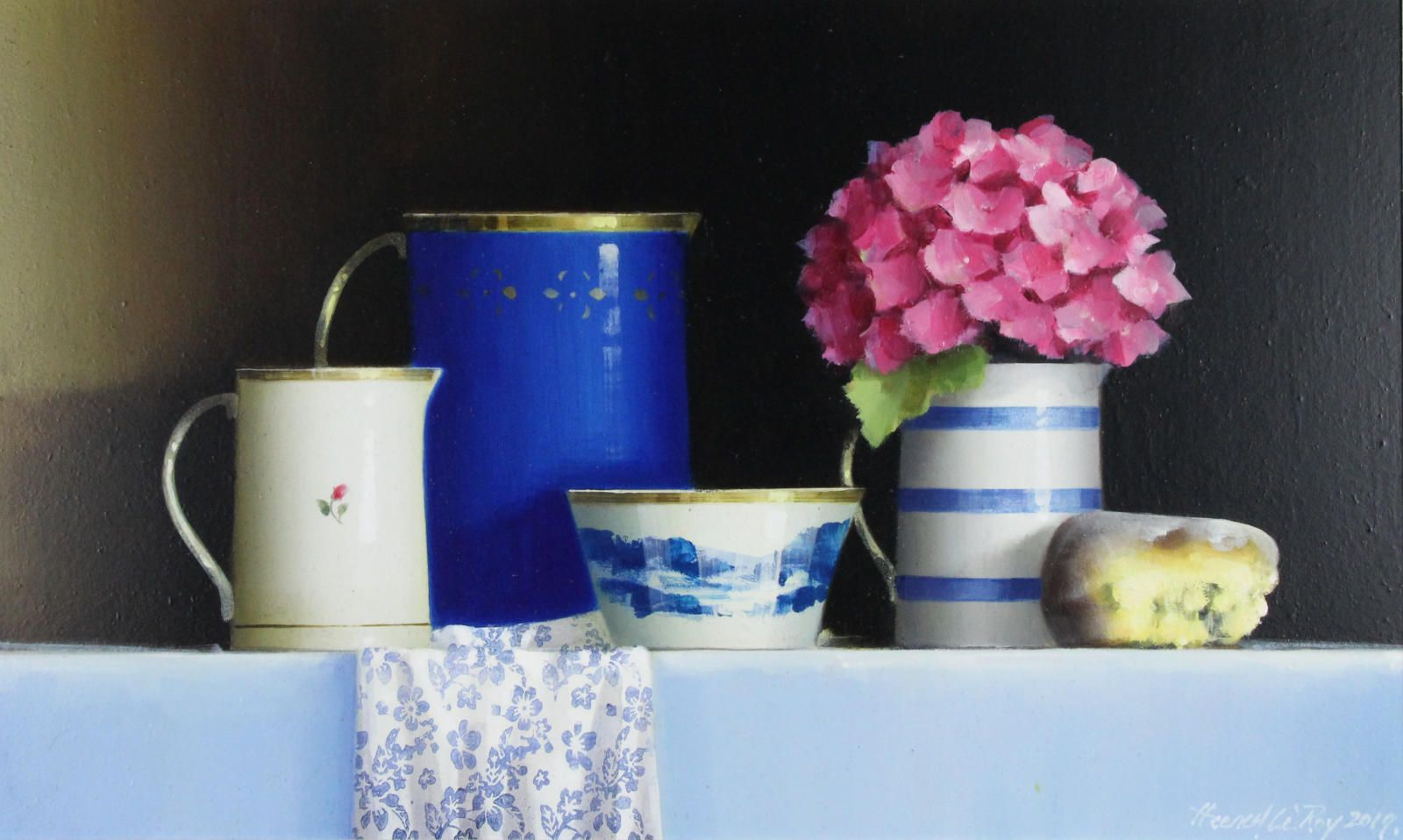 Blue Tableware with Hydrangea