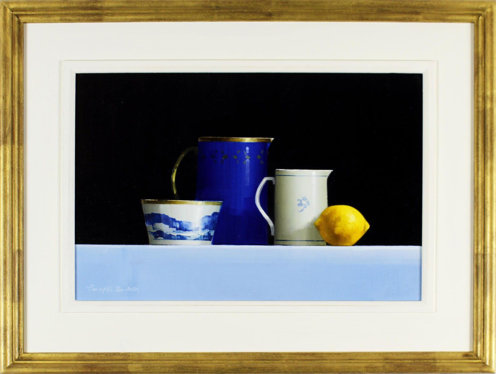 Blue Tableware and Lemon