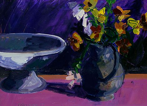 Flowers in Vase with Bowl