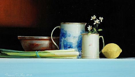 Still Life with Scallions and Lemon by David French Le-Roy